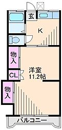 神奈川県横浜市港北区綱島西6丁目の賃貸アパートの間取り