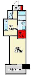 JR鹿児島本線 戸畑駅 徒歩4分の賃貸マンション 8階1DKの間取り