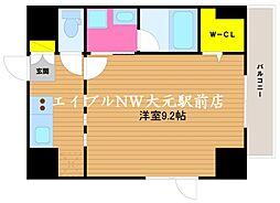 THE MODERN 桑田町 6階1Kの間取り