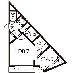 札幌市営東豊線 東区役所前駅 徒歩11分の賃貸マンション 5階1LDKの間取り