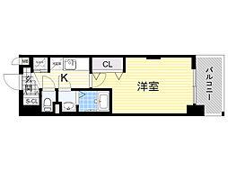 Luxe新大阪α 1階1Kの間取り