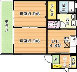 コムハウス弐番館[1階]の間取り
