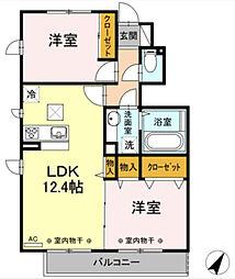 神奈川県横浜市旭区市沢町の賃貸アパートの間取り