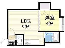 北海道札幌市中央区南6条西13丁目の賃貸アパートの間取り