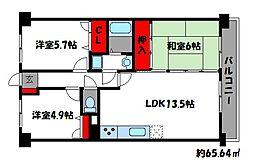 アムール香椎駅南[4階]の間取り