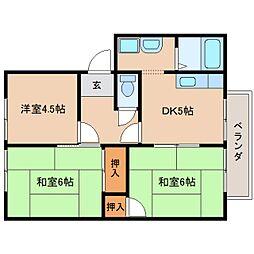 近鉄天理線 天理駅 バス6分 勾田下車 徒歩2分の賃貸アパート 2階3DKの間取り