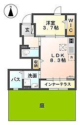 名鉄犬山線 西春駅 徒歩7分の賃貸アパート 1階1LDKの間取り