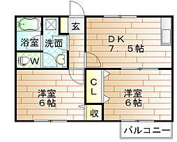 福岡県宗像市日の里1丁目の賃貸アパートの間取り