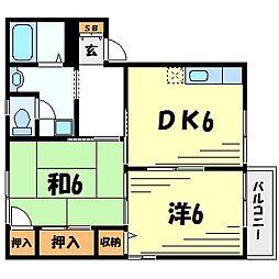 兵庫県西宮市分銅町の賃貸アパートの間取り