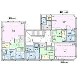小田急小田原線 豪徳寺駅 徒歩3分の賃貸マンション 3階1Kの間取り