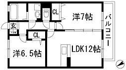 兵庫県伊丹市瑞穂町2丁目の賃貸アパートの間取り