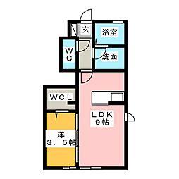 静岡県静岡市葵区松富2の賃貸アパートの間取り