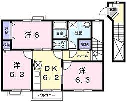兵庫県姫路市大津区西土井の賃貸アパートの間取り
