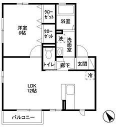 神奈川県横浜市緑区鴨居6丁目の賃貸アパートの間取り