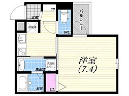 阪急神戸本線 西宮北口駅 徒歩7分の賃貸アパート 3階1Kの間取り