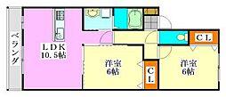グローバルヴィラ弐番館[2階]の間取り