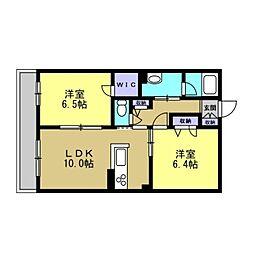 仮)川崎区塩浜2丁目シャーメゾン 3階2LDKの間取り