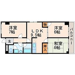 エコロシティ七松[4階]の間取り
