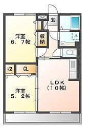 神奈川県川崎市多摩区長尾1丁目の賃貸アパートの間取り