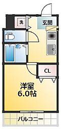 U-ro新大阪 3階1Kの間取り