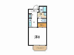 兵庫県加古川市野口町坂井の賃貸マンションの間取り