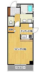 今泉新町1Kマンション[5階]の間取り