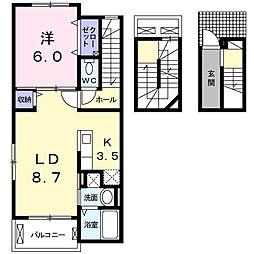 東京都江東区北砂5丁目の賃貸アパートの間取り