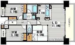 大阪府大阪市天王寺区烏ケ辻2丁目の賃貸マンションの間取り