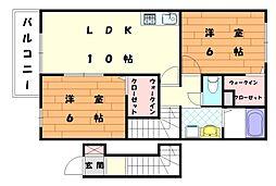 プティアンジュⅢ[2階]の間取り