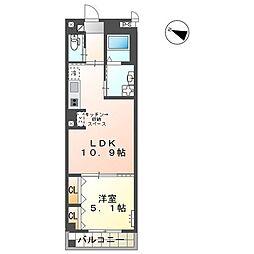JR山陽本線 横川駅 徒歩10分の賃貸マンション 5階1LDKの間取り