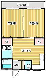 新住之江マンション[402号室]の間取り