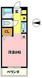 埼玉県さいたま市中央区上落合1丁目の賃貸アパートの間取り