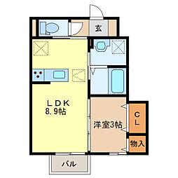 ステラコート若草B[1階]の間取り