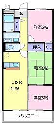 南海高野線 初芝駅 徒歩17分の賃貸マンション 1階3LDKの間取り