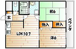 福岡県北九州市若松区東二島2丁目の賃貸アパートの間取り
