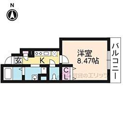 JR山陰本線 嵯峨嵐山駅 徒歩13分の賃貸アパート 1階1Kの間取り
