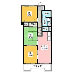 ファミール鶴里[7階]の間取り