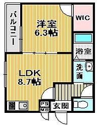 大阪府堺市西区浜寺諏訪森町中3丁の賃貸アパートの間取り