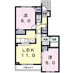 北海道札幌市厚別区厚別東五条2丁目の賃貸アパートの間取り