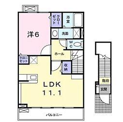 JR津山線 法界院駅 5.2kmの賃貸アパート 2階1LDKの間取り