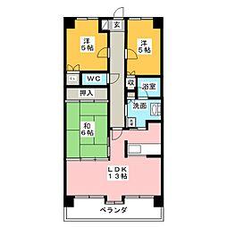 シャルム東別院[6階]の間取り