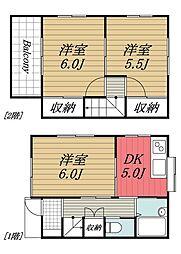 千葉都市モノレール みつわ台駅 徒歩10分の賃貸アパート 1階3DKの間取り