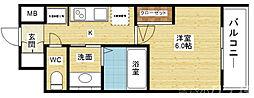 エステムコート新大阪XIIIニスタ 6階1Kの間取り