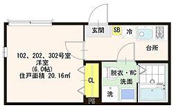 仮称)ハーモニーテラス梅田2丁目B 3階1Kの間取り