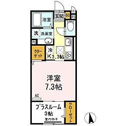 JR久大本線 久留米大学前駅 徒歩10分の賃貸アパート 1階1Kの間取り