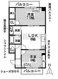 愛知県名古屋市昭和区川名本町6丁目の賃貸マンションの間取り