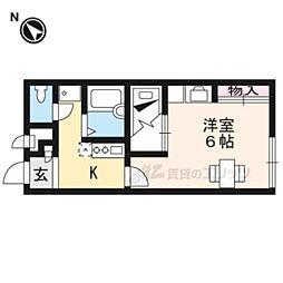 JR湖西線 おごと温泉駅 徒歩3分の賃貸アパート 1階1Kの間取り