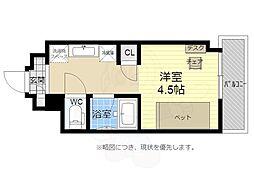 キャンパスヴィレッジ京都西京極 2階1Kの間取り