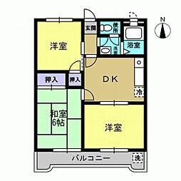 エントピア秋川 3階3DKの間取り