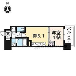 アスヴェル京都太秦211 2階1DKの間取り